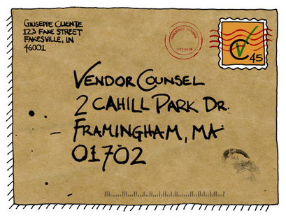 vendor counsel postcard contact