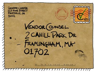 vendor counsel postcard contact